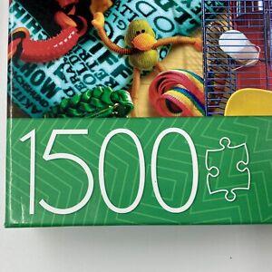 Milton Bradley 1,500 Piece Pets Jigsaw Puzzle Domestic Animals Missing 1 Piece
