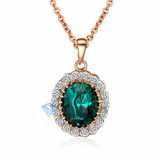 18K Rose Gold Plated Swarovski Crystal Green Gemstone Pendant Vintage Necklace