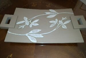 Tray Decorative Rectangular Shabby Chic Color Taupe