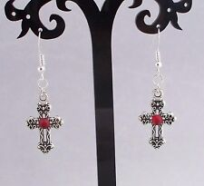 Tibetan Silver Cross Red Diamante,925 Sterling Silver Hook Earrings.Handmade