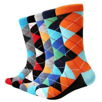 5 Pairs Fashion Mens Socks Lot Cotton Warm Classic Diamond Casual Dress Socks