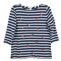 J. Crew Womens Embroidered Cherry Knit Top 3/4 Sleeve Round Neck Striped Navy M
