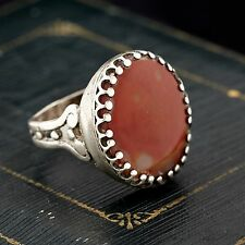 Antique Vintage Deco Sterling Silver Islamic Red Orange Agate Floral Ring! Sz 8