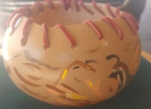 Native American Indian Woman Hand Painted On Wood Bowl Leather Signed @L. Schone