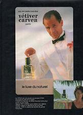 Publicité Advertising 1984  Parfum VETIVER de CARVEN eau de toilette masculine