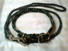 """Paracord Dog Leash 4 foot & Collar size18""""to 24"""" Hunter Green and Woodland Camo"""