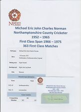 MICHAEL NORMAN NORTHAMPTONSHIRE COUNTY CRICKETER 1952-1965 HAND SIGNED CUTTING