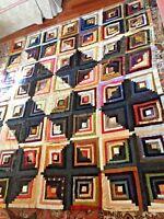 Antique Victorian log cabin in Silk ,Satin ,Velvet, Wool ,quilt top,
