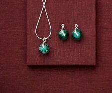 Fenton Glass Jewelry Set Earring Necklace Lantern Design Sterling Silver Jade