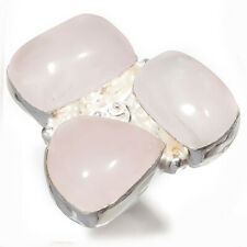 Rose Quartz Gemstone 925 Sterling Silver Jewelry Ring Size 6.5 4144