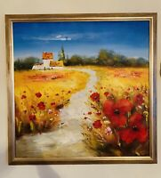 WILD RED POPPIES  Flowers Field Landscape Original Oil Painting On Canvas Signed