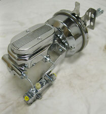 """Chevy Car 7"""" Disc Disc Power Booster Milled Master Cylinder & Bracket Kit CHROME"""
