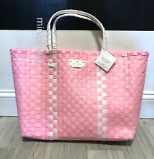 f2276452eec0 Kate Spade Woven Vinyl Pink   White Large Tote Shopping Beach Bag