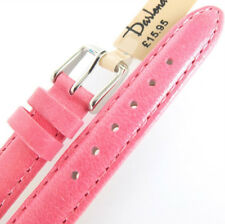 12mm DARLENA 1351 PINK SATIN FINISH PADDED CALF LEATHER WATCH STRAP SIL BUCKLE