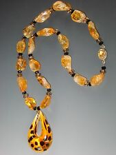 Citrine Venetian Glass Leopard Pendant Necklace Labor Day Sale - Bess Heitner