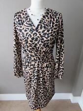 MARKS & SPENCER Ladies Beige & Black Animal Print Stretchy Dress Size 10 VGC