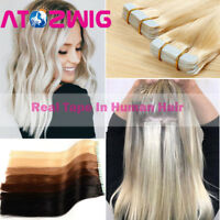 """16""""-20"""" TAPE IN Premium 100% Remy Human Hair Extensions Highlight Ombre 20PCS"""