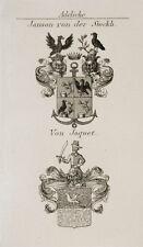 1847 Wappen Adelige Janson von der Stockh von Jaquet Kupfer Tyroff Coat of Arms