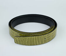 New. HERMES Green/Black Reversible Crocodile Leather Belt No Buckle 95/38 $5100