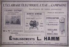 PUBLICITÉ 1916 ÉCLAIRAGE ÉLECTRIQUE ET EAU DISTRIBUTEUR AUTOMATIQUE - L. HAMM