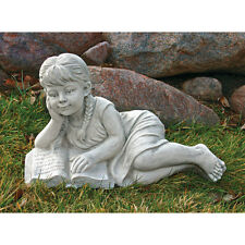 Little Girl Book Lover Sculpture Child Reading Garden Statue