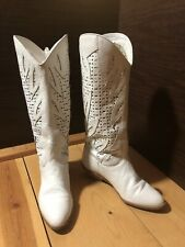 Vintage Town & Country White Leather Western Boho Mid Calf Boots Sz 6 1/2 B