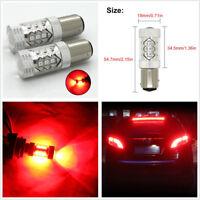 2Pcs 1157 2057 7528 BAY15D 3030 SMD 80W Red LED Bulb Car Brake Ligth Tail Light