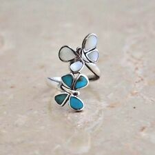"""LONG TURQUOISE BUTTERFLY RING   1"""" long  All Genuine Sterling Silver Size 7"""
