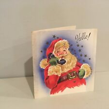 Vtg Christmas Card Glitter Santa Talking on Phone Telephone Chimney