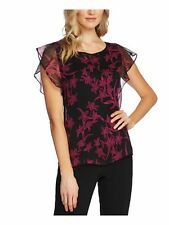 VINCE CAMUTO Womens Black Floral Jewel Neck Top Size: XS
