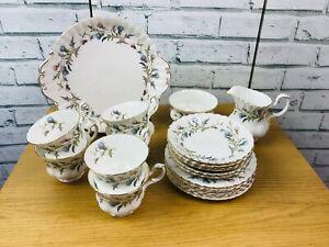 Vintage 1960s Royal Albert Bone China Brigadoon Tea Set 21 Pieces thistles