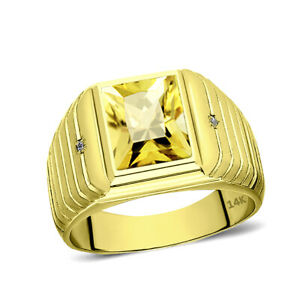 Solid 14K Gold Yellow Citrine Ring 0.04ct Natural Diamonds Fine Mens Ring All Sz