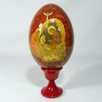 """Russian Decoupage Icon Egg on Stand Nativity Hand Painted Large Wood Decor 7.25"""""""