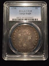 1798 Draped Bust One Dollar PCGS VF35 Choice $1 Variety Silver B BB Flowing Hair