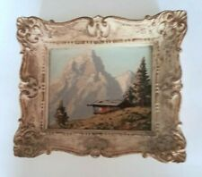 Vintage Miniature Landscape Oil Painting of the Swiss Alps Chalet Haller Antique
