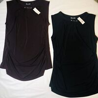 Womens Sleeveless Knit Ruched BlousesTops NY&Co. XL  Lot Of 2 NWT