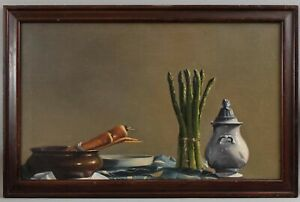 ROBERT CONTOIS American Trompe-l' Still Life Oil Painting, Asparagus & Carrots