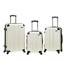 Rockland F190-WHITE 3 Pc Sonic Abs Upright Luggage Set - White NEW