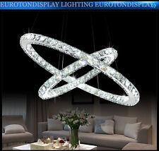 LED Pendelleuchte 3210-2 Ringe 60W kaltweiß 4500k K9 Kristall chrom 50*70cm A+