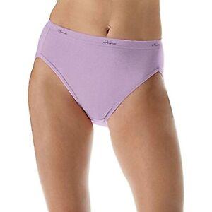 Hanes Women's No Ride Up Cotton Hi-Cut Panties 6-Pack Size 7 Colors Vary