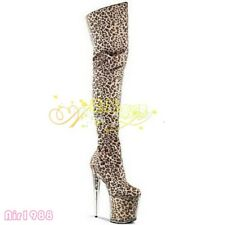 Womens Sexy Leopard Over the Knee Thigh Boots 20cm High Heels Nightclub Shoes