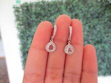 1.25 CTW Diamond Dangling Earrings 18k White Gold E376 sep