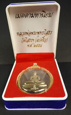 BLESSED LUANG PHOR SOTHORN BUDDHA AMULET SILVER + PHA YANT Temple WISHING Cloth.
