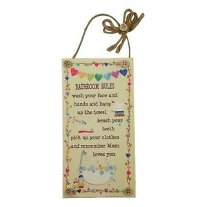 BATHROOM RULES Wooden Sign Plaque Toilet Colourful Novelty Hanging Fun Gift