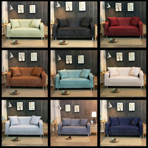 1/2/3/4Seater Soft Sofa Couch Covers Solid Elastic Stretch Slipcover Protector