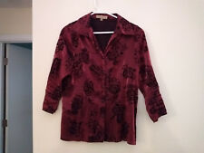 Notations red and black Holiday satin look shirt size Medium