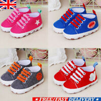 Newborn Baby Boys Girls Pre-Walker Soft Sole Pram Shoes Canvas Sneakers Trainers