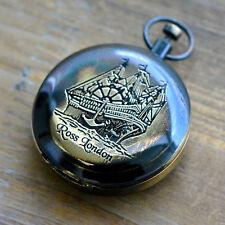 Vintage Style Compass Pendant Charm Engraved Nautical Closing Lid Antique Black