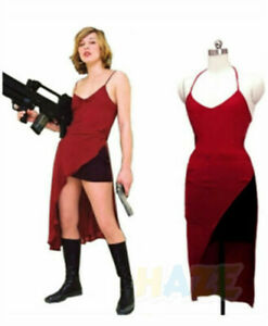 Movie Resident Evil Alice Red Dress Cosplay Costume Halloween Suit Dress New
