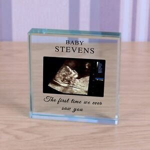 Baby Scan New Baby - Personalised Photo Glass Block Ornament Gift 8cm